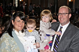 Sen. Burke Harr with his wife, Jennifer, and daughters, Augusta and Rita.