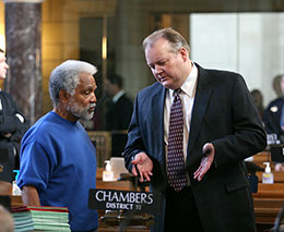 Omaha Sens. Ernie Chambers and Scott Lautenbaugh discuss LR41CA during general file debate March 6.