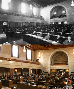 Image of Above: The first session of the Nebraska Unicameral. Below: Today's Unicameral, 75 years later.