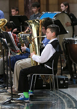 Music Education Week at the Capitol is March 2 - 6. Over the noon hour, students from across the state give musical performances. Pictured: students in the Ashland-Greenwood Middle School band.