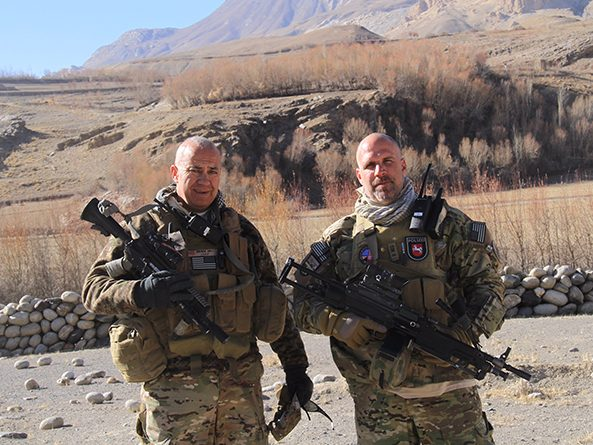 Sen. Tom Brewer (left) and fellow soldier Erik Herring serving in northern Afghanistan in 2011.