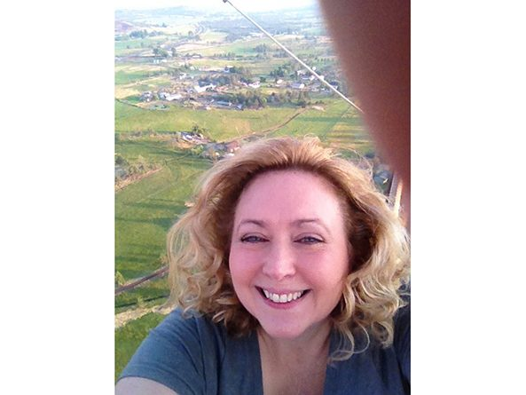 Sen. Carol Blood in a hot air balloon near Sisters, Oregon, in 2014.