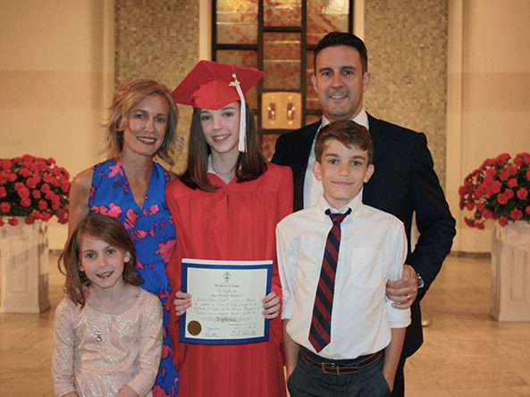 Sen. Theresa Thibodeau with her husband Joseph and their children Eleanor, Anna and Joey at Anna's eighth grade graduation in 2017.