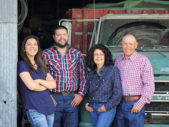Sen. Tom Brandt on the family farm with wife Sandra and their children Mariah and Evan.